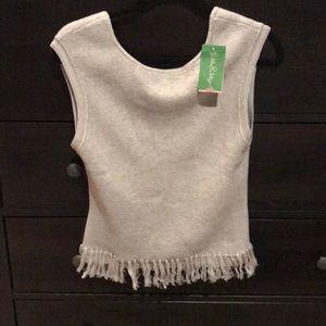 Lilly pulitzer grey fringe sweater- NWT